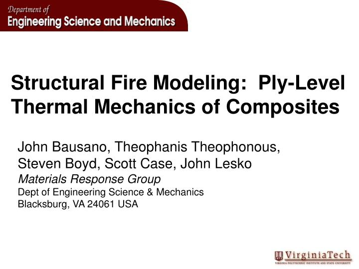 structural fire modeling ply level thermal mechanics of composites n.