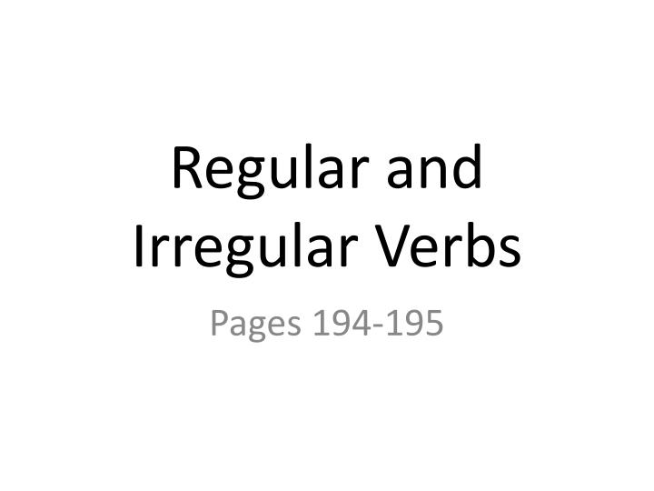 regular and irregular verbs n.