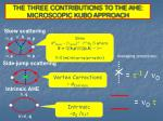 the three contributions to the ahe microscopic kubo approach