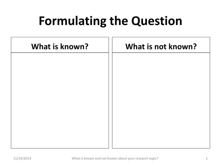 formulating the question n.