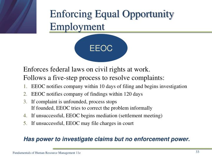 Enforcing Equal Opportunity Employment