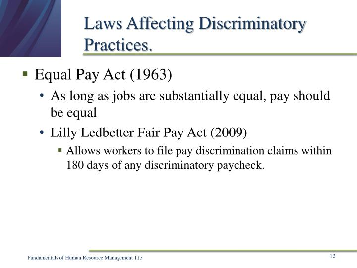 Laws Affecting Discriminatory  Practices.