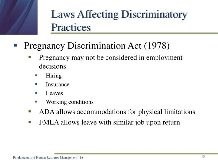 Laws Affecting Discriminatory Practices