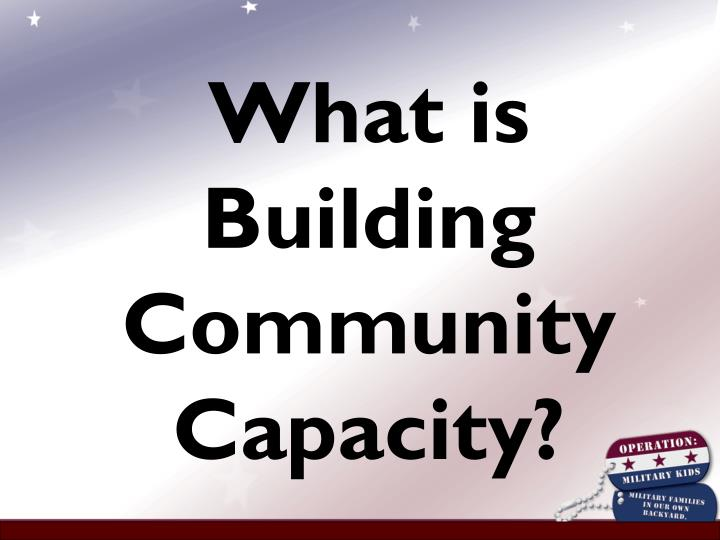What is Building Community Capacity?