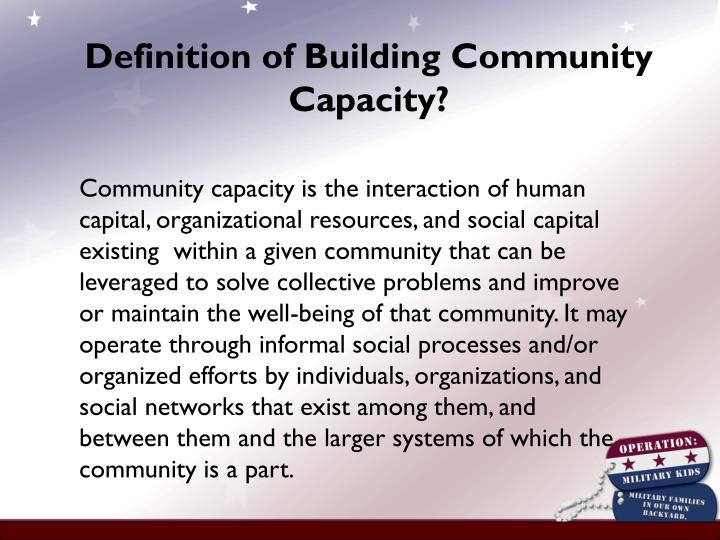 Definition of Building Community Capacity?