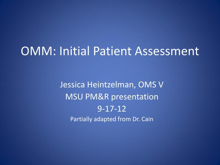 omm initial patient assessment n.