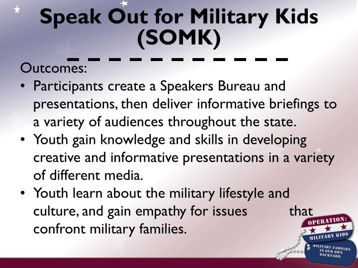 Speak Out for Military Kids (SOMK)
