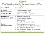types of funding opportunity announcements foa