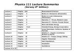 physics 111 lecture summaries serway 8 th edition
