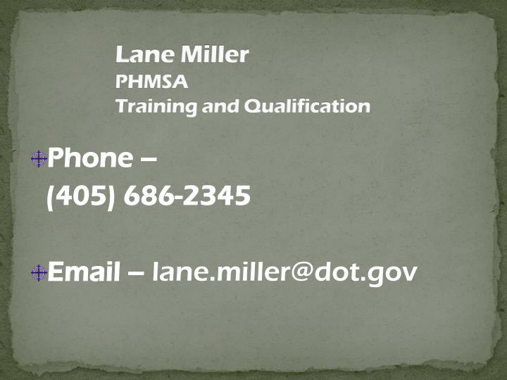 lane miller phmsa training and qualification n.
