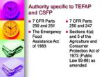 authority specific to tefap and csfp