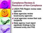 compliance reviews resolution of non compliance