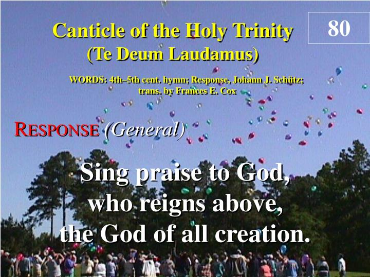 canticle of the holy trinity response n.