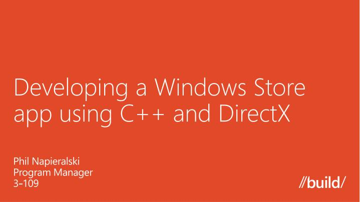 developing a windows store app using c and directx n.