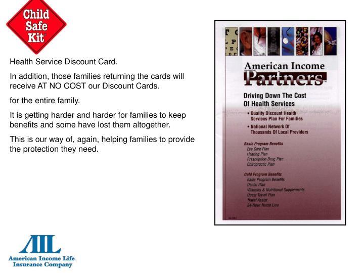 Health Service Discount Card.