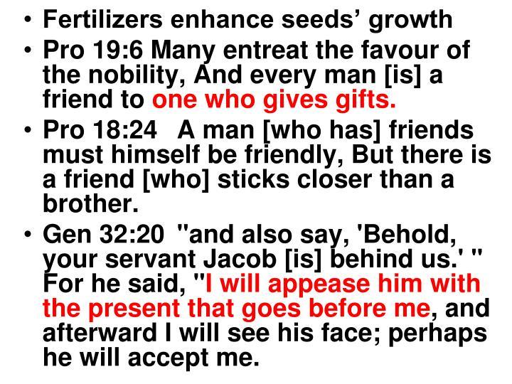 Fertilizers enhance seeds' growth