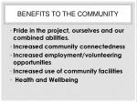benefits to the community