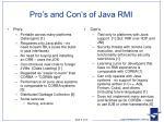 pro s and con s of java rmi