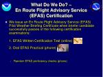 what do we do en route flight advisory service efas certification