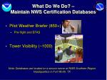 what do we do maintain nws certification databases
