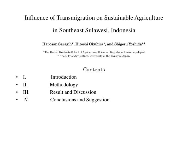 influence of transmigration on sustainable agriculture in southeast sulawesi indonesia n.