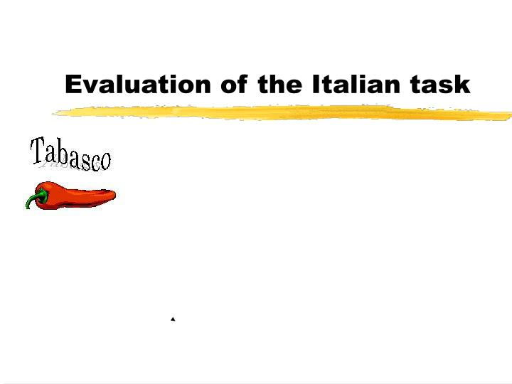evaluation of the italian task n.