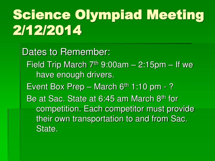 science olympiad meeting 2 12 2014 n.