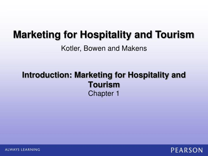 introduction marketing for hospitality and tourism n.