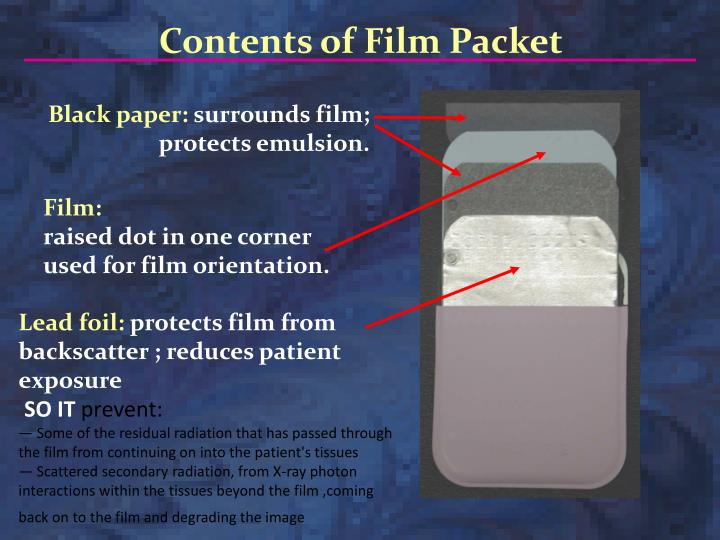 Ppt x ray films powerpoint presentation id6862366 contents of film packet ccuart Image collections
