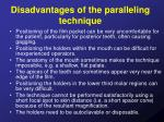 disadvantages of the paralleling technique