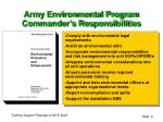 army environmental program commander s responsibilities