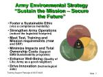 army environmental strategy sustain the mission secure the future