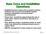 base camp and installation operations