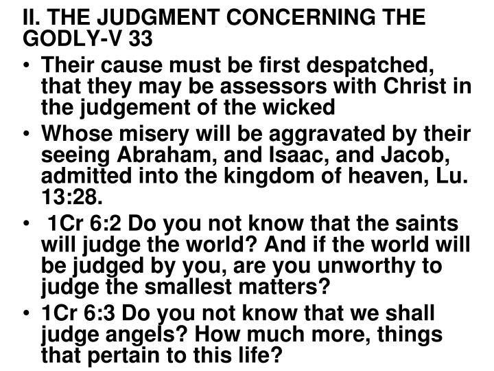 II. THE JUDGMENT CONCERNING THE GODLY-V 33