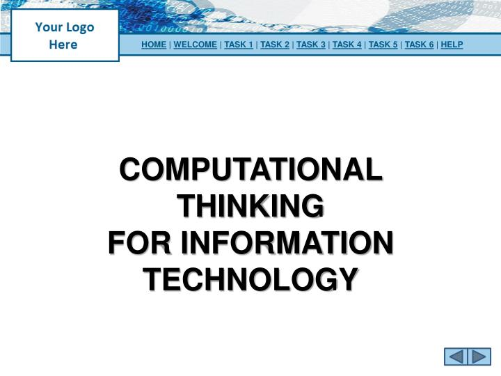 computational thinking for information technology n.