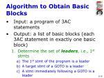algorithm to obtain basic blocks