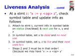 liveness analysis contd2