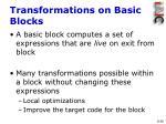transformations on basic blocks