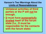 hanson s two warnings about the limits of reasonableness