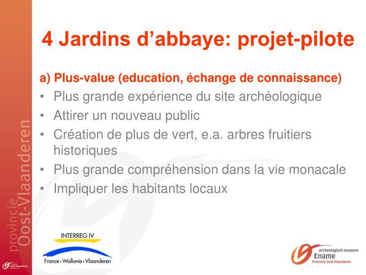 4 Jardins d'abbaye: projet-pilote