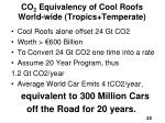 co 2 equivalency of cool roofs world wide tropics temperate