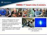 emma 1 st beam into 4 sectors