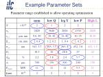 example parameter sets