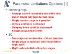 parameter limitations opinions 1