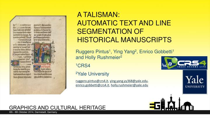 a talisman automatic text and line segmentation of historical manuscripts n.