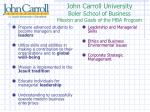 john carroll university boler school of business mission and goals of the mba program
