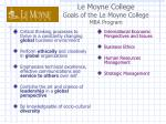 le moyne college goals of the le moyne college mba program