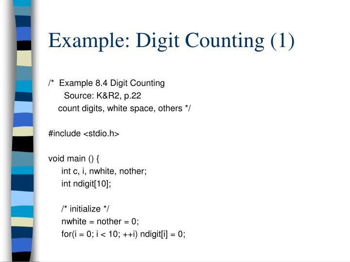 Example digit counting 1