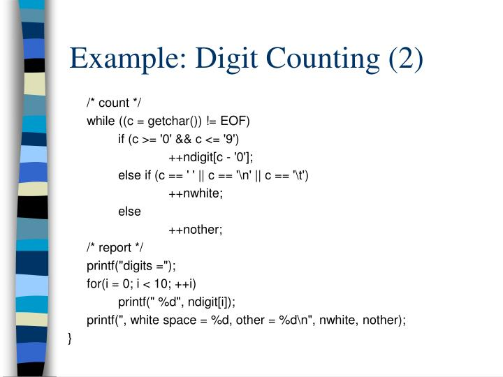 Example: Digit Counting (2)