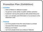 promotion plan exhibition